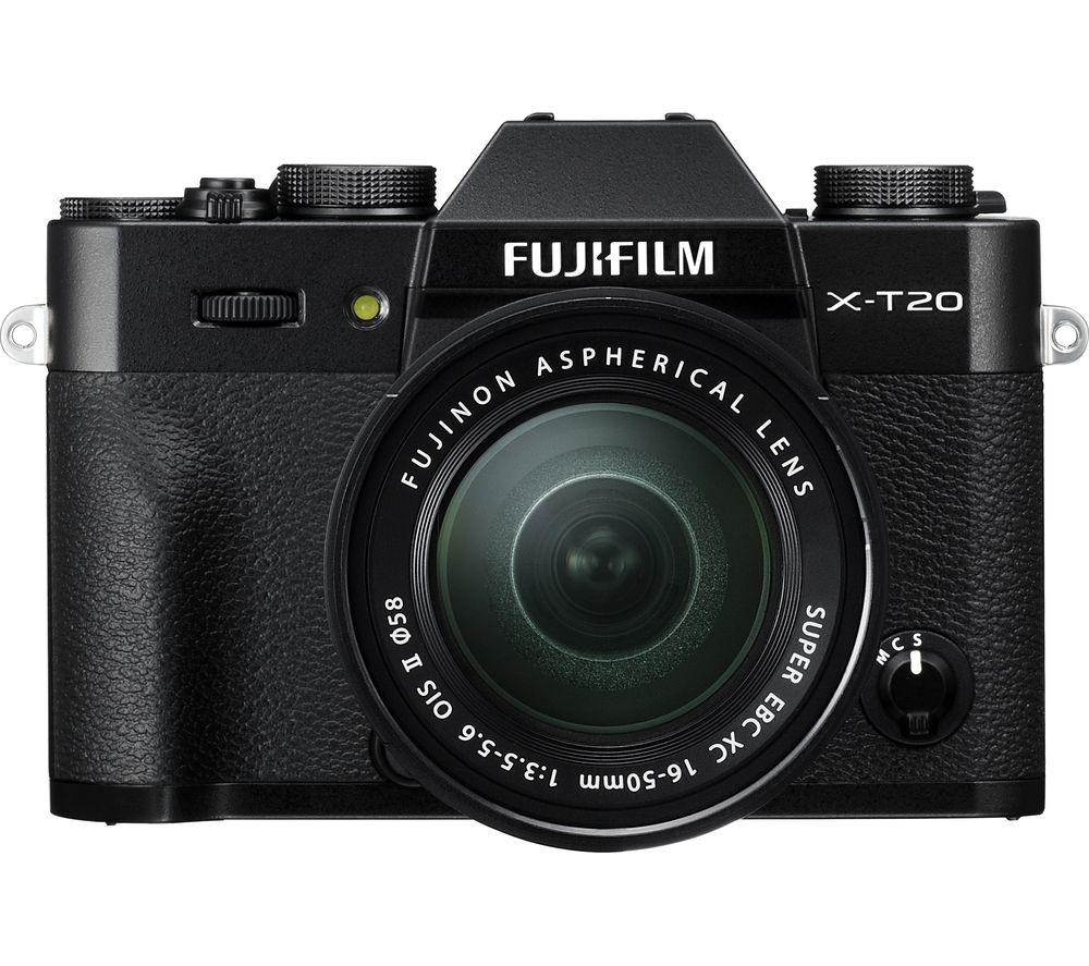 FUJIFILM X-T20 Mirrorless Camera with 16-50 mm f/3.5-5.6 Lens - Black