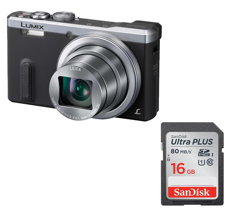 PANASONIC Lumix DMC-TZ60EB-S Superzoom Compact Camera & Memory Card Bundle
