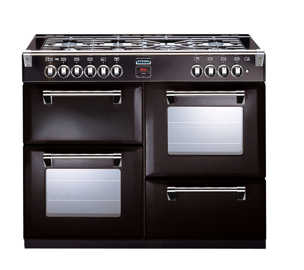 buy stoves richmond 1000gt gas range cooker black free delivery currys. Black Bedroom Furniture Sets. Home Design Ideas
