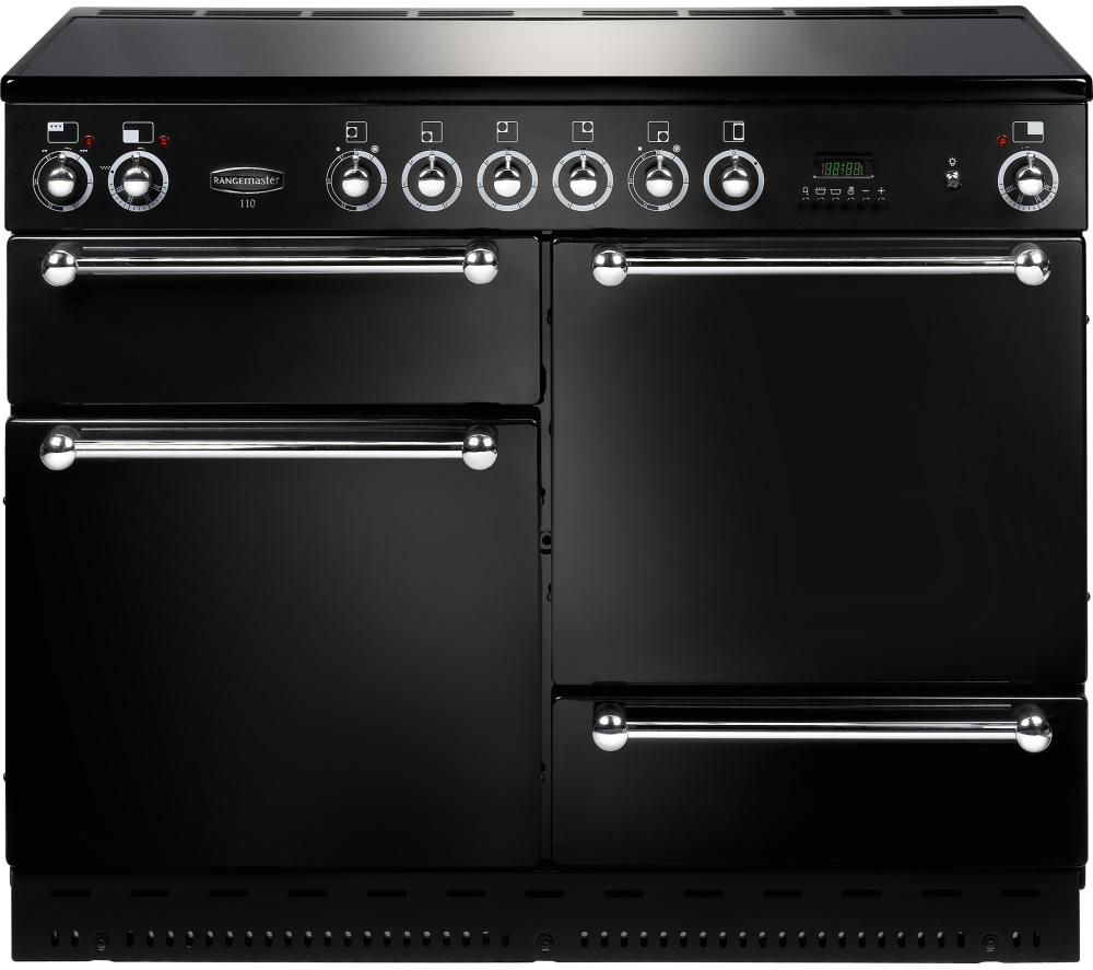 RANGEMASTER Classic 110 Electric Ceramic Range Cooker - Black & Chrome