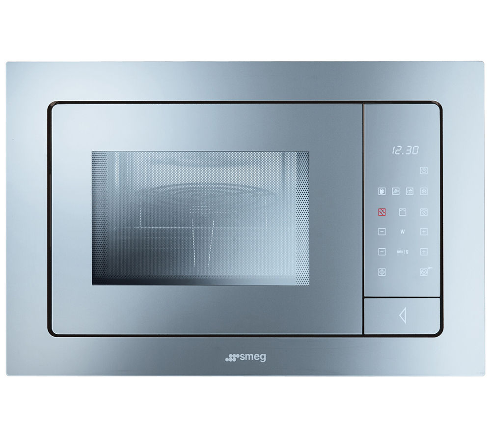 Smeg Linea FME120 Builtin Microwave with Grill  Silver Glass Silver