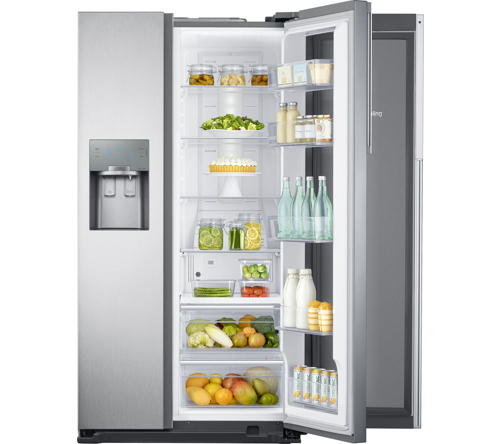 SAMSUNG Food ShowCase RH56J6917SL American-Style Fridge Freezer - Easy Clean Steel