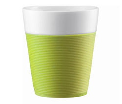 BODUM Bistro Porcelain Mug with Silicone Band - Lime, Pack of 2
