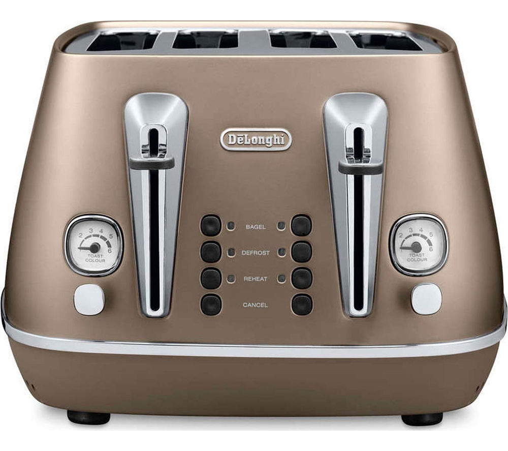 DELONGHI  Distinta CTI4003.BK 4-Slice Toaster - Bronze +  Distinta ICMI211.BZ Filter Coffee Maker – Bronze
