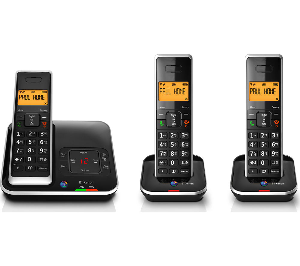 BT Xenon 1500 Cordless Phone with Answering Machine – Triple Handsets