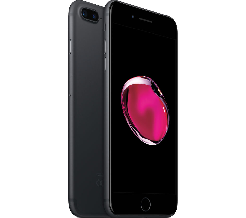 APPLE iPhone 7 Plus - Black, 128 GB + Leather iPhone 7 Plus Case ...