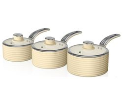 SWAN Retro 3-piece Non-stick Saucepan Set - Cream