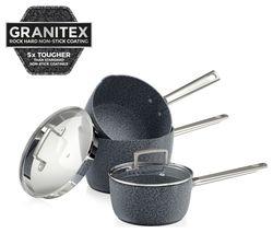 TOWER T90981 3-piece Granitex Saucepan Set - Granite Grey
