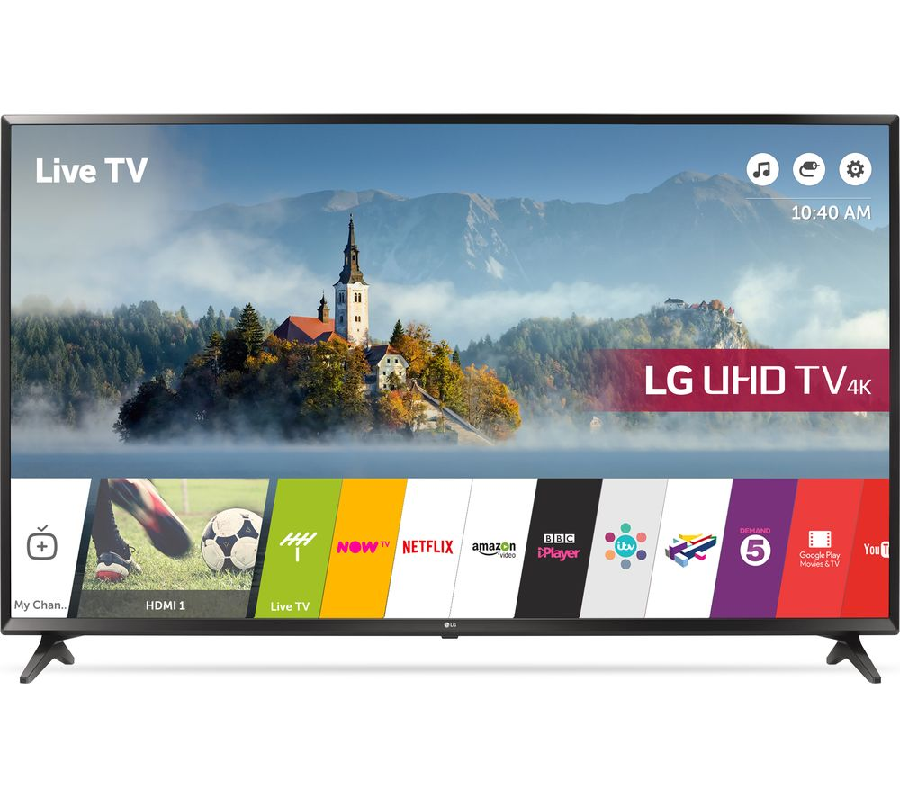 """LG 55UJ630V 55"""" Smart 4K Ultra HD HDR LED TV + S1HDM315 HDMI Cable with Ethernet - 1 m"""