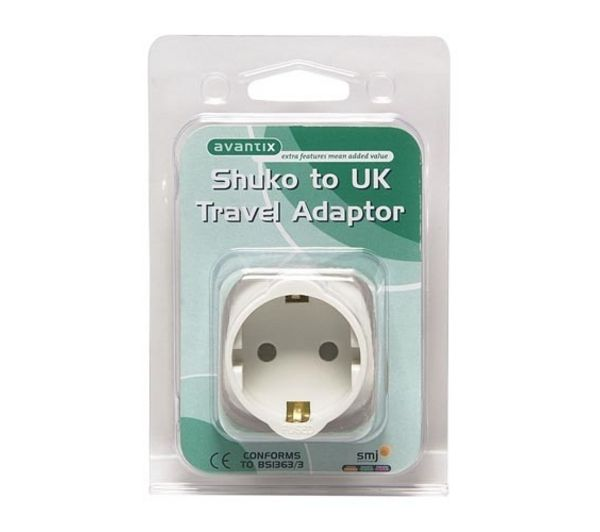 SMJ Shuko to UK Travel Plug Adaptor