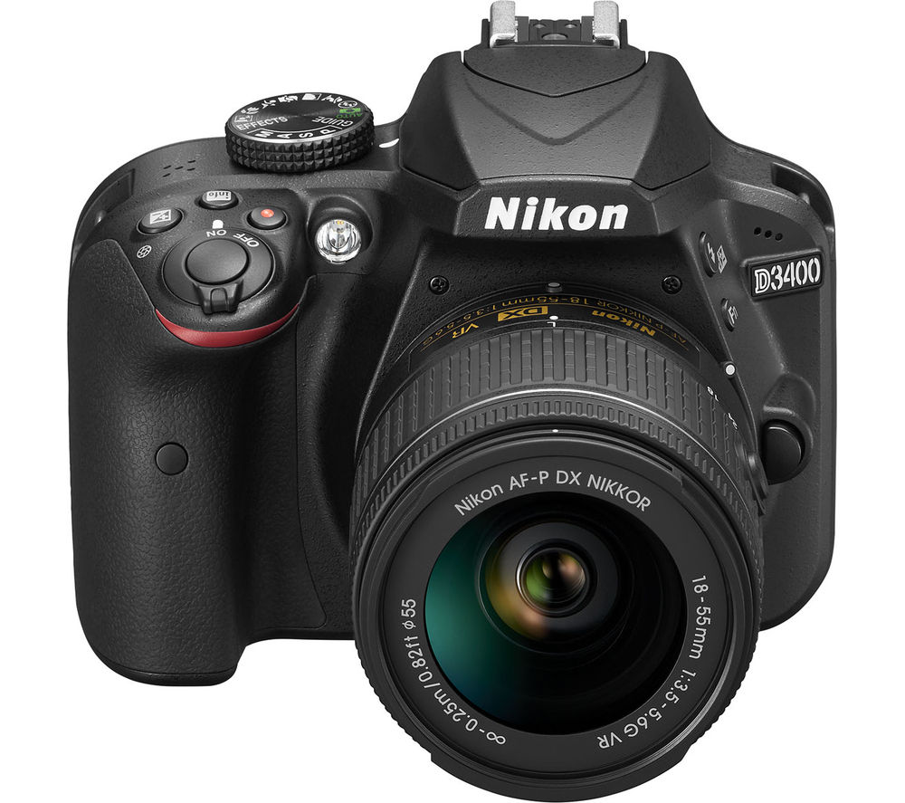 Nikon NIKON  D3400 DSLR Camera with 18-55 mm f/3.5-5.6 VR Zoom Lens - Black, Black
