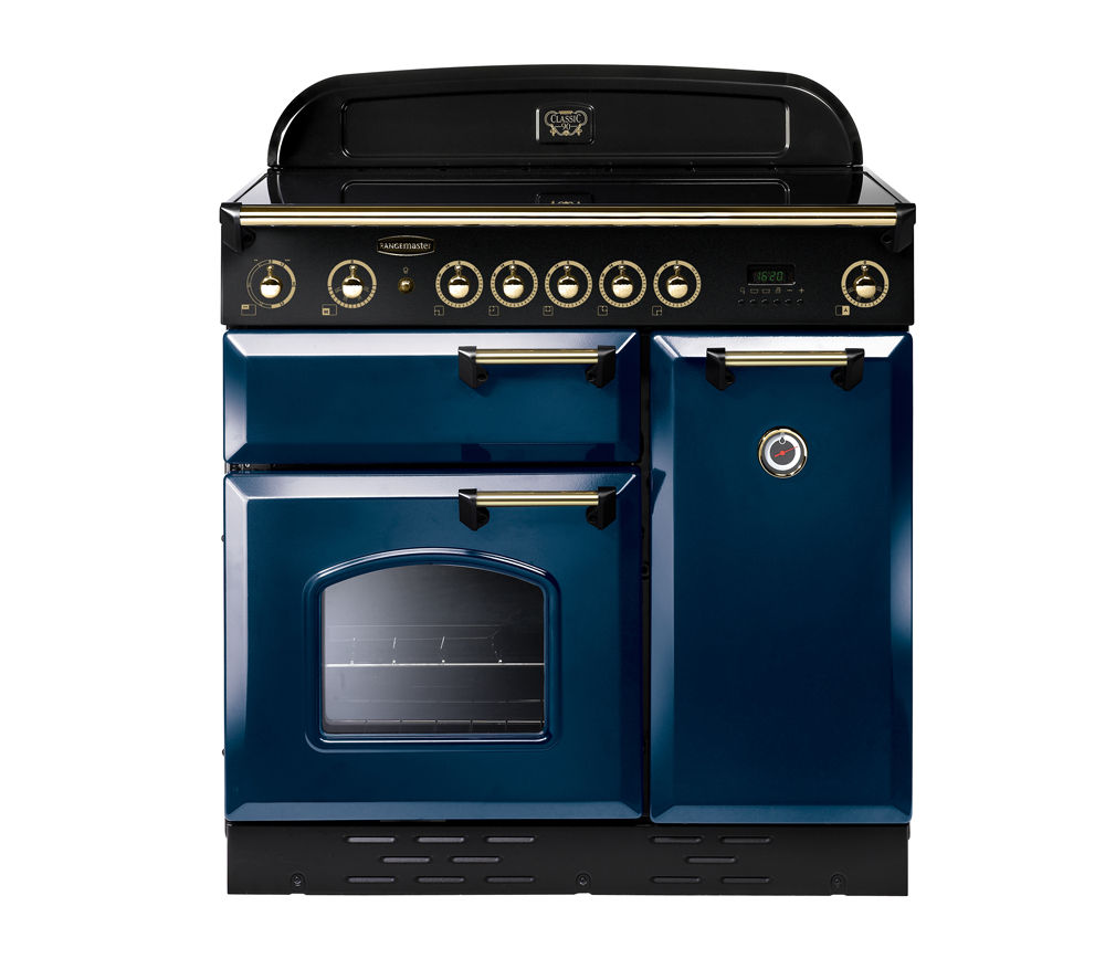 Image of Rangemaster Classic 90 Electric Induction Range Cooker - Blue & Brass, Blue