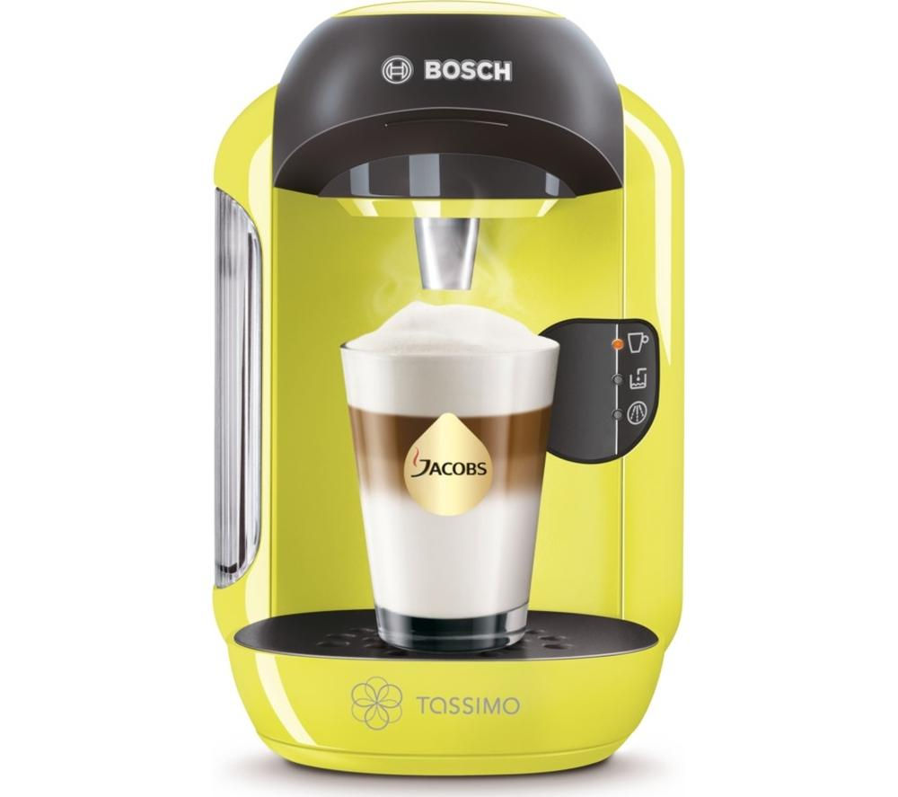 TASSIMO  by Bosch Vivy II TAS1256GB Hot Drinks Machine - Lime Green +  Costa Cappuccino T Discs - Pack of 8