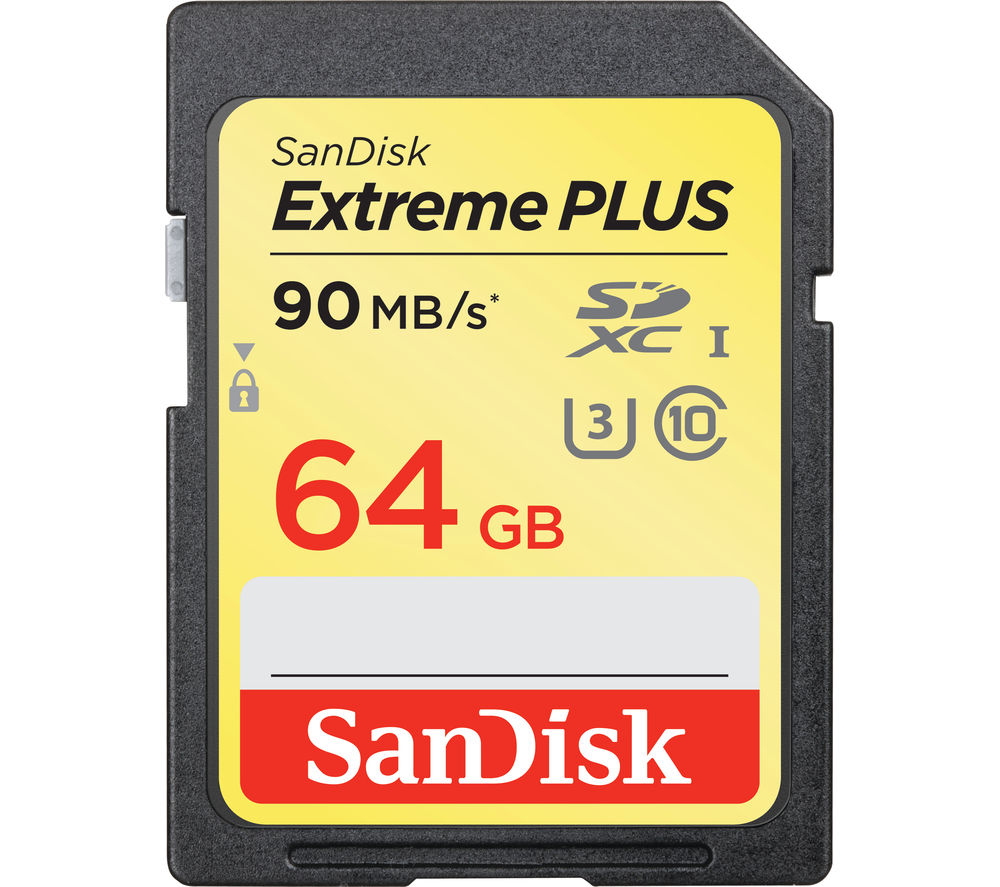 SANDISK Extreme Plus Class 10 SD Memory Card - 64 GB