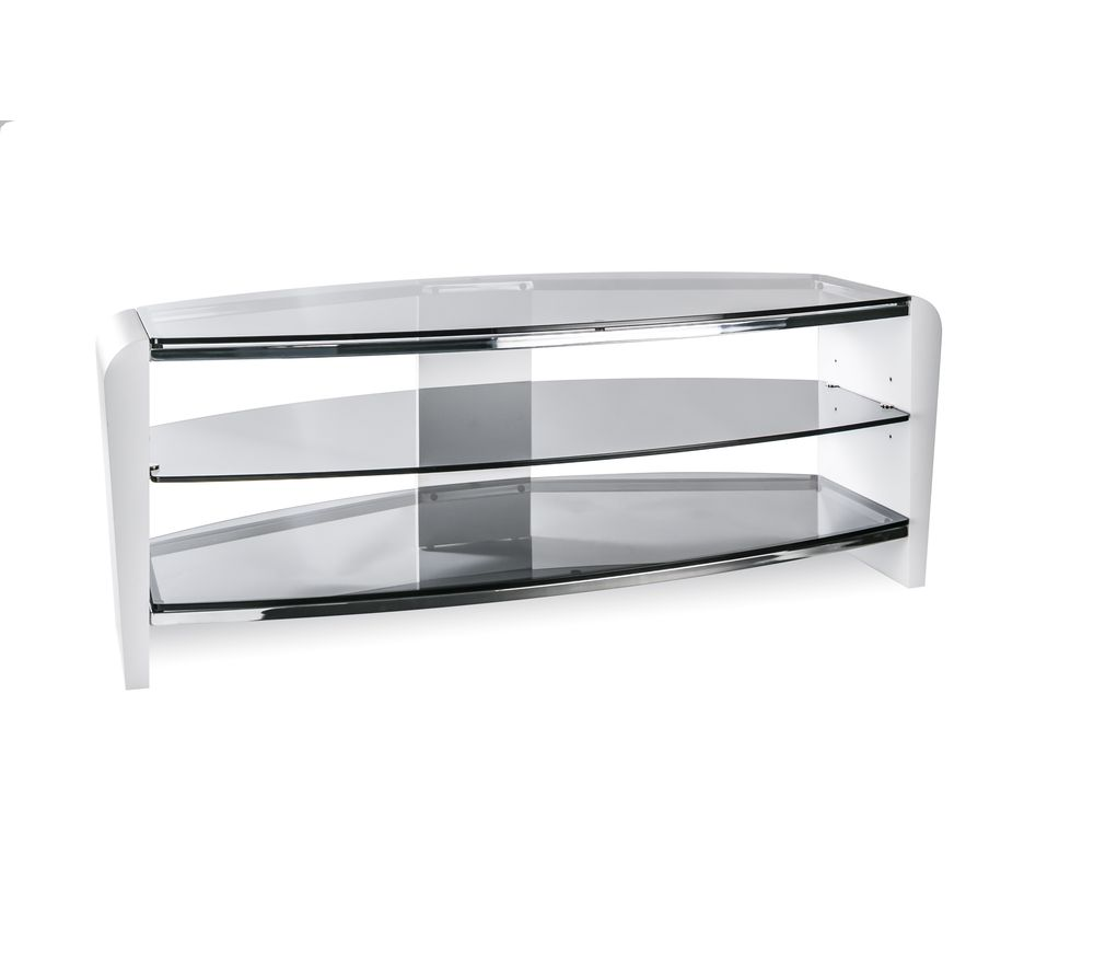 ALPHASON  Francium 1100 TV Stand  White & Smoked Glass White