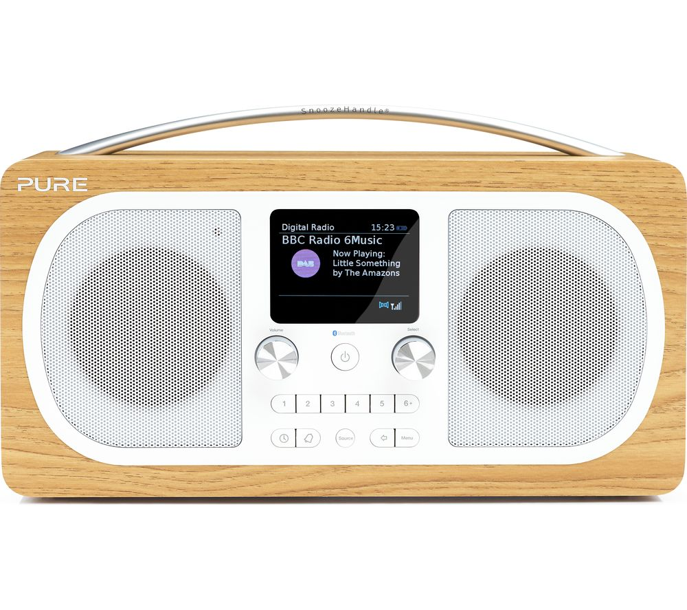 PURE Evoke H6 Portable DABﱓ Bluetooth Clock Radio - Oak.