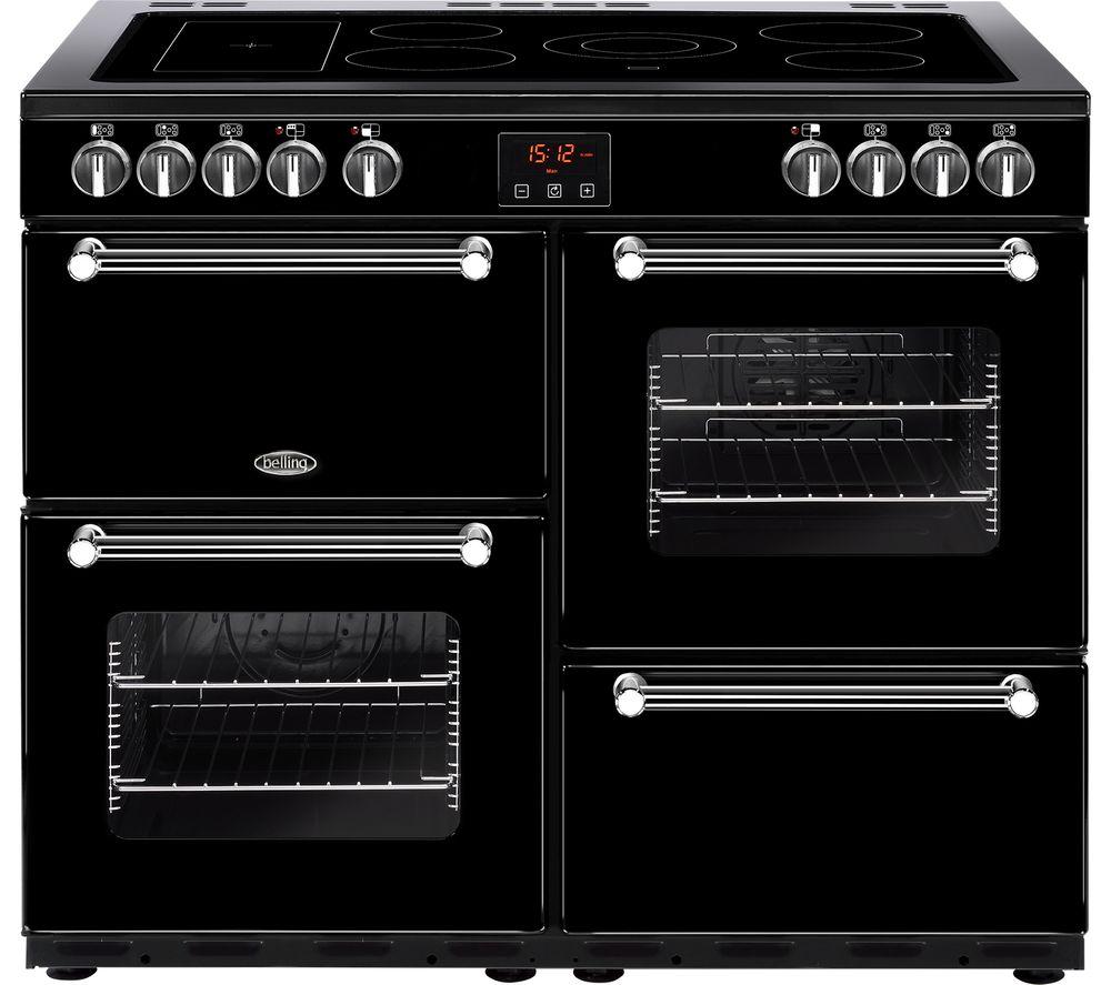 BELLING Kensington 100E Electric Ceramic Range Cooker - Black & Chrome