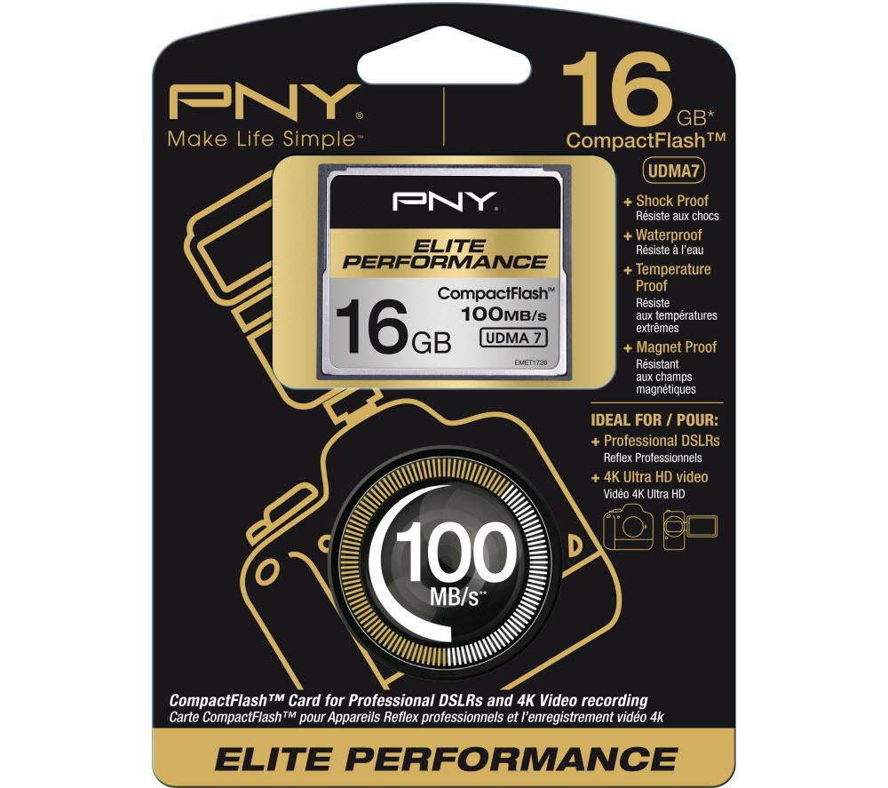 Pny Elite Performance CompactFlash Memory Card  16GB Black