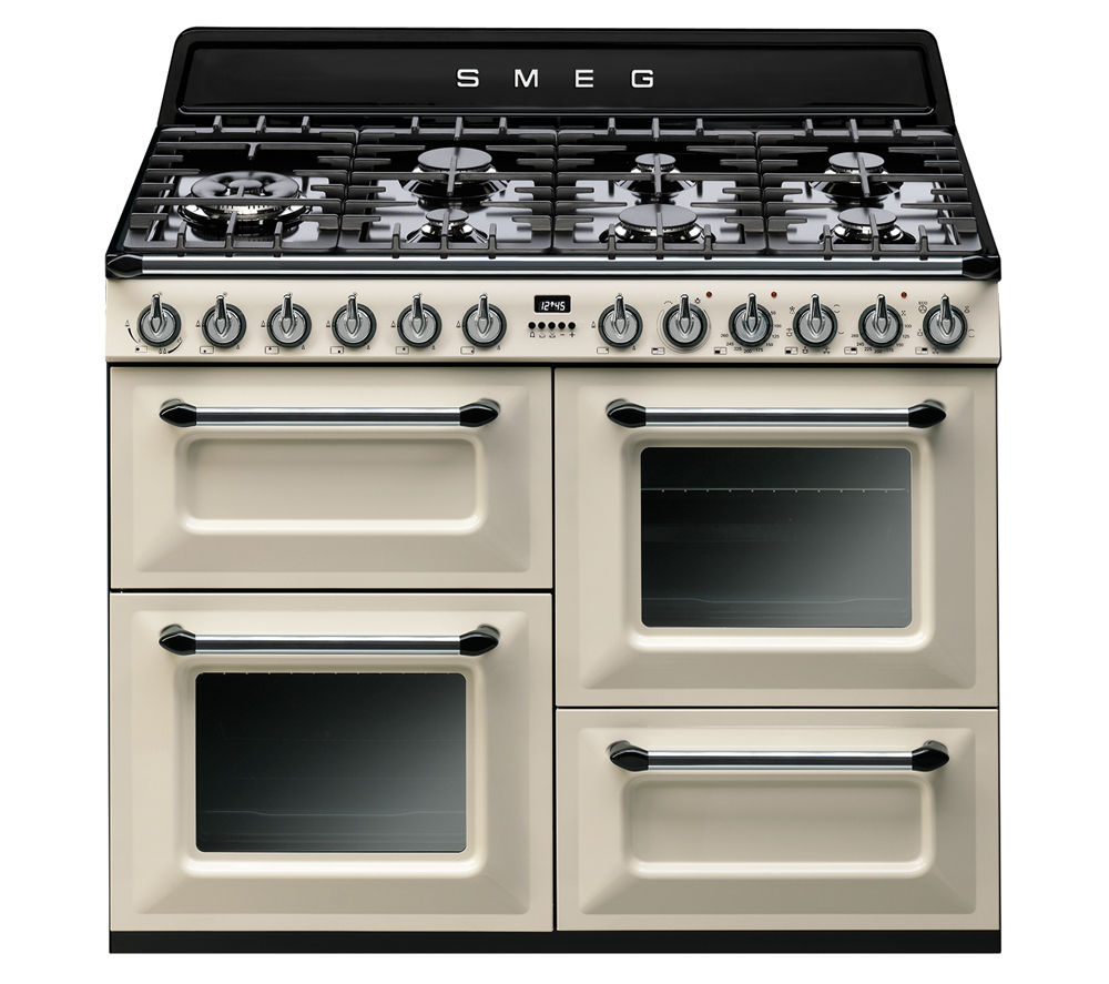 buy smeg tr4110p1 dual fuel range cooker cream black. Black Bedroom Furniture Sets. Home Design Ideas