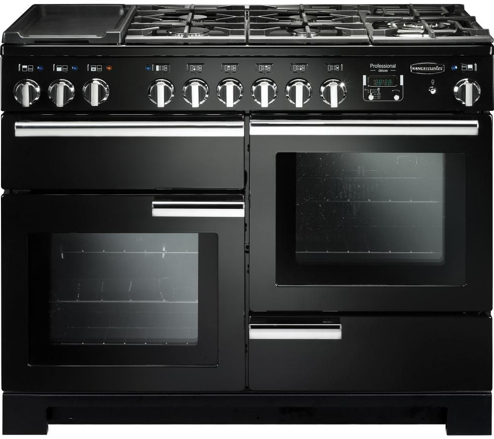 RANGEMASTER Professional Deluxe 110 Dual Fuel Range Cooker - Black & Chrome