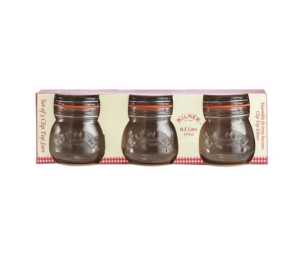 KILNER Round 0.5-litre Cliptop Jars - Sleeve of 3