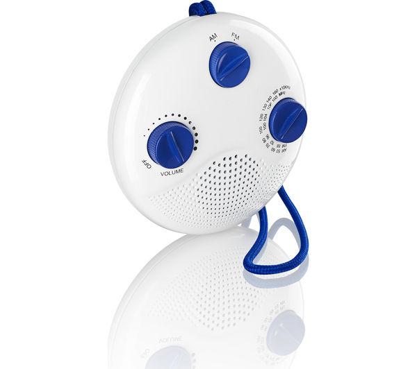 Bathroom Radio buy logik lsr16 portable analogue bathroom radio - white & blue