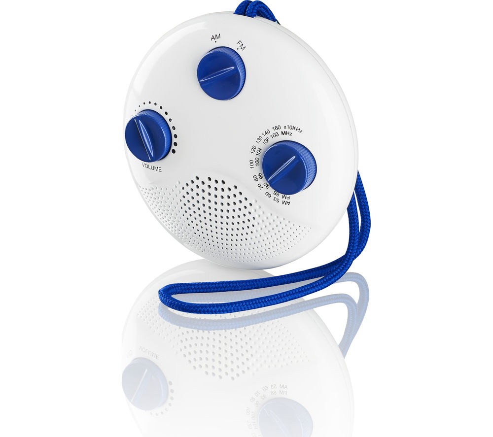 LOGIK LSR16 Portable Analogue Bathroom Radio - White & Blue
