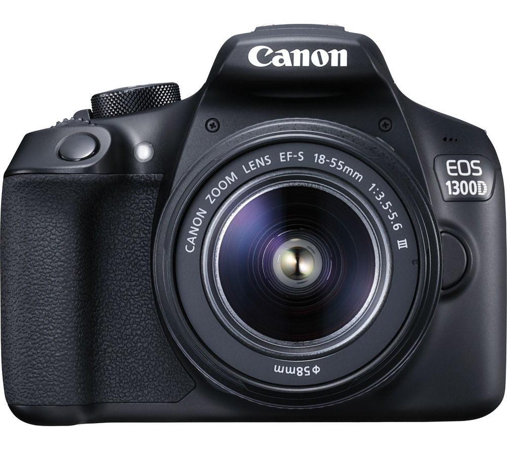 Image of CANON EOS 1300D DSLR Camera with 18-55 mm f/3.5-f/5.6 Zoom Lens - Black, Black