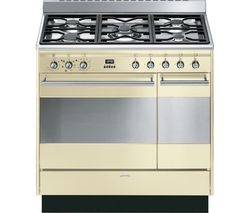 SMEG Concert 90 cm Dual Fuel Range Cooker - Cream & Stainless Steel
