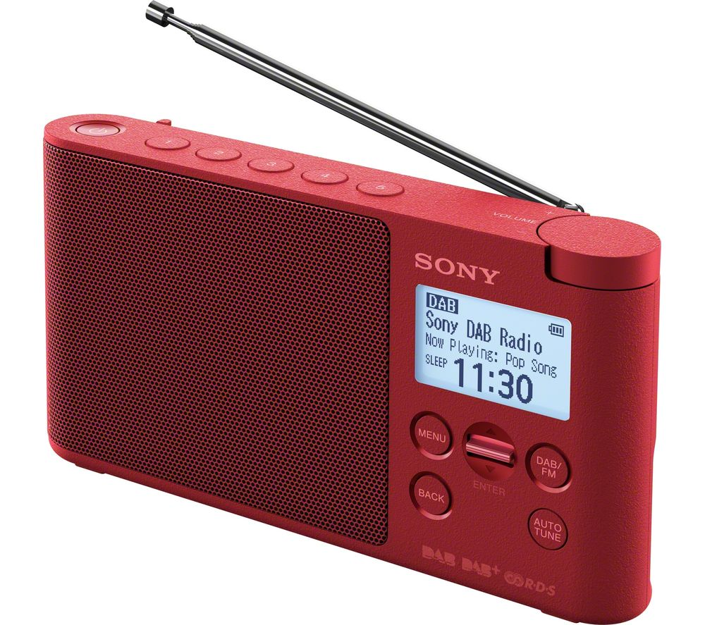 sony xdr s41d portable dab fm clock radio red deals pc world. Black Bedroom Furniture Sets. Home Design Ideas