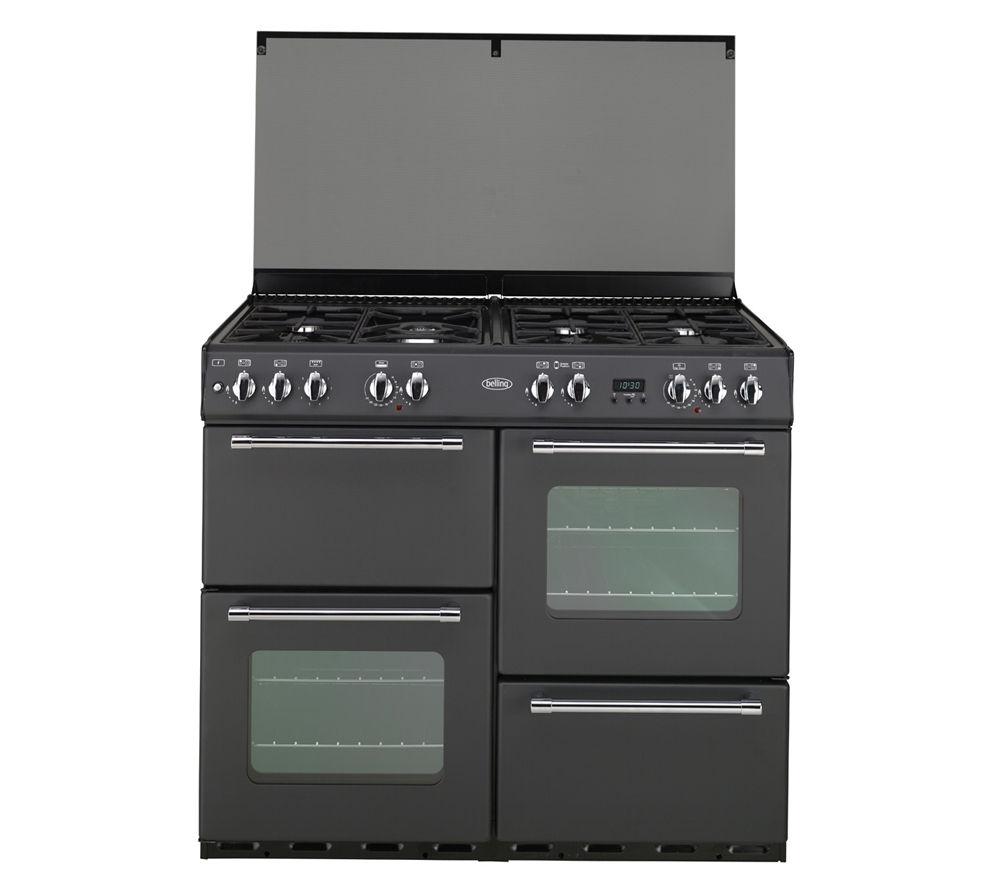 buy belling country 100 dual fuel range cooker black. Black Bedroom Furniture Sets. Home Design Ideas