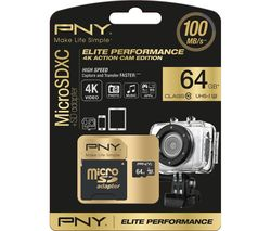 PNY Elite Performance Class 10 microSD Memory Card - 64 GB