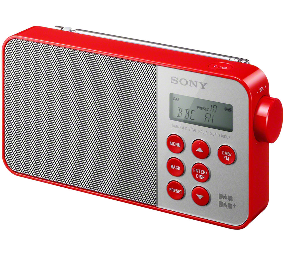 buy sony xdrs40dbpr portable dab clock radio red free delivery currys. Black Bedroom Furniture Sets. Home Design Ideas