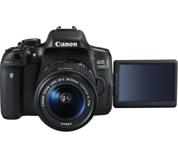 buy canon eos 750d dslr camera with ef s 18 55 mm is stm. Black Bedroom Furniture Sets. Home Design Ideas