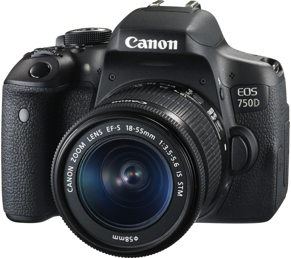 EOS 750D DSLR Camera with 18-55 mm f/3.5-5.6 Lens - Black + 70-300 mm f/4-5.6 DG Macro Telephoto Zoom Lens - for Canon