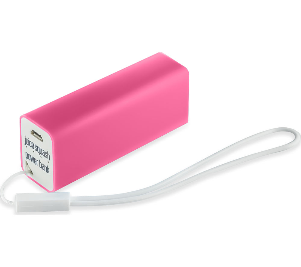 Juice Squash Mini Portable 2800 mAh Power Bank (Pink)