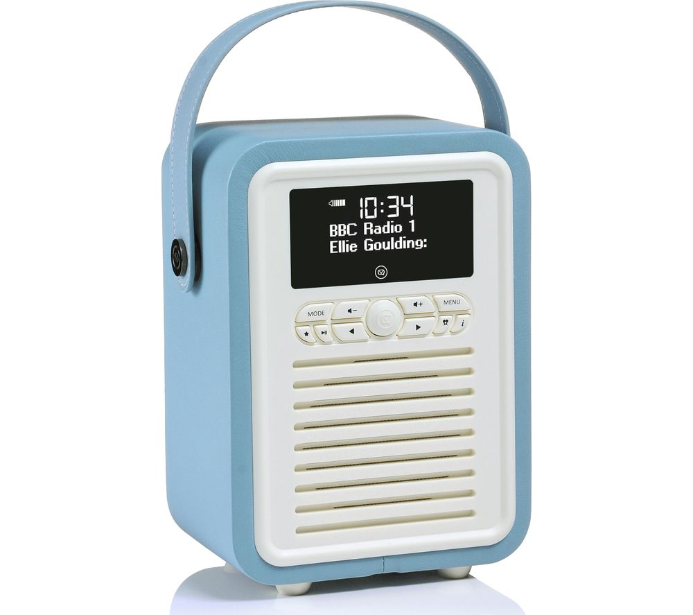 vq retro mini vq mini tl portable dab fm bluetooth clock radio blue deals pc world. Black Bedroom Furniture Sets. Home Design Ideas