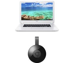 ACER 15 CB5-571 Chromebook & Chromecast Bundle - White