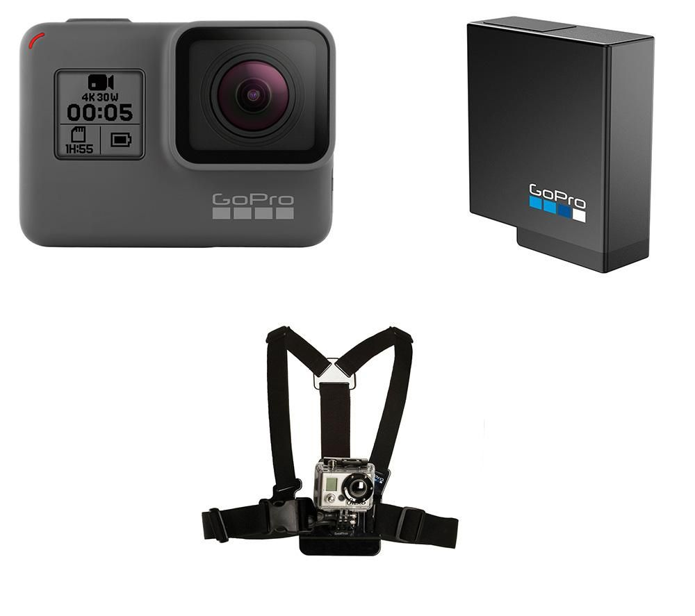 GOPRO HERO5 4K Ultra HD Action Camcorder, Harness & Battery Bundle