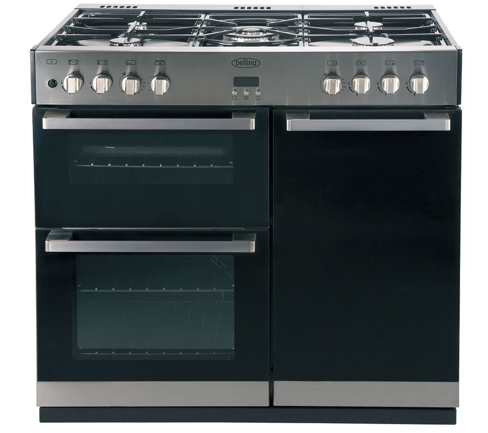 BELLING DB4 90DFT Dual Fuel Range Cooker - Black & Stainless Steel
