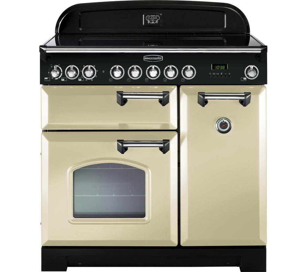 RANGEMASTER  Classic Deluxe 90 Electric Induction Range Cooker  Cream & Chrome Cream