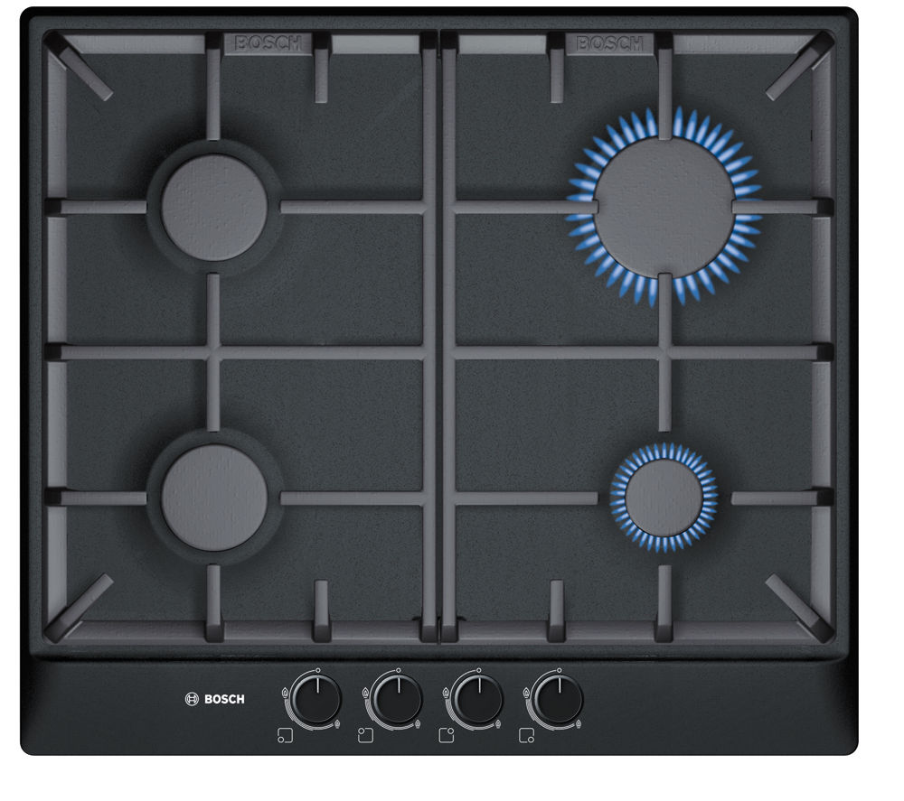 buy bosch pcp616b90e gas hob black free delivery currys. Black Bedroom Furniture Sets. Home Design Ideas