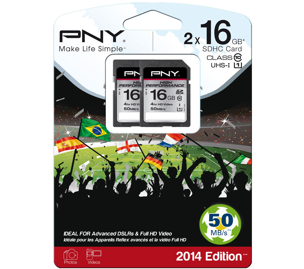 PNY High Performance Class 10 SD Memory Card - 16 GB, Twin Pack