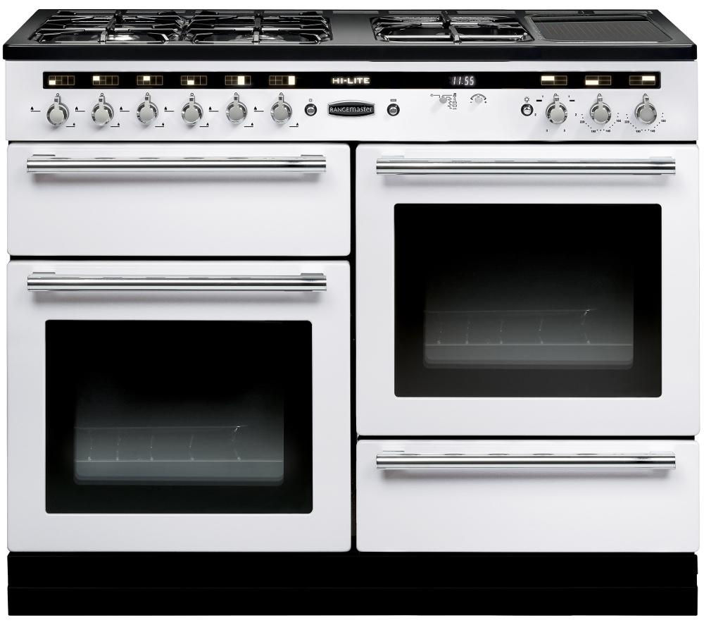 RANGEMASTER  HiLITE 110 Dual Fuel Range Cooker  White & Chrome White