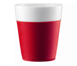 BODUM Bistro Porcelain Mug with Silicone Band - Red, Pack of 2