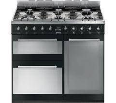 SMEG Symphony 90 cm Dual Fuel Range Cooker - Black & Stainless Steel
