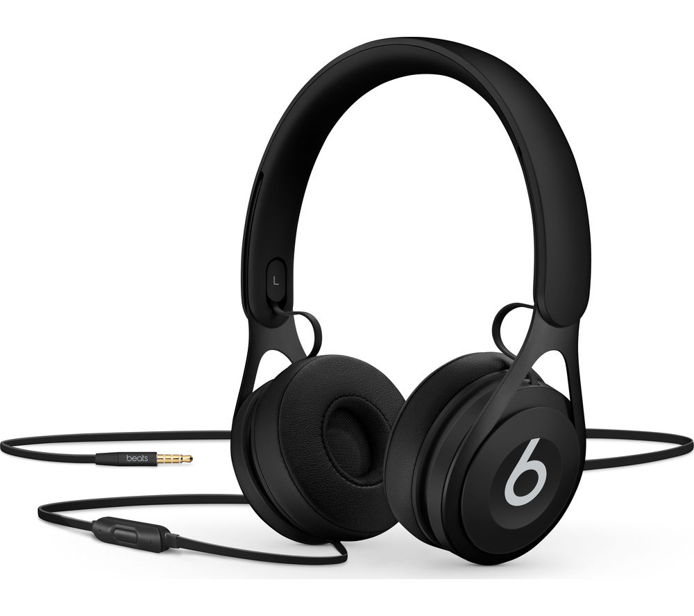 BEATS BY DR DRE EP Headphones - Black + iPhone 7 Lightning to 3.5 mm Headphone Jack Adapter