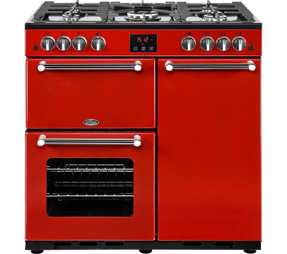 BELLING Kensington 90G Gas Range Cooker - Red & Chrome