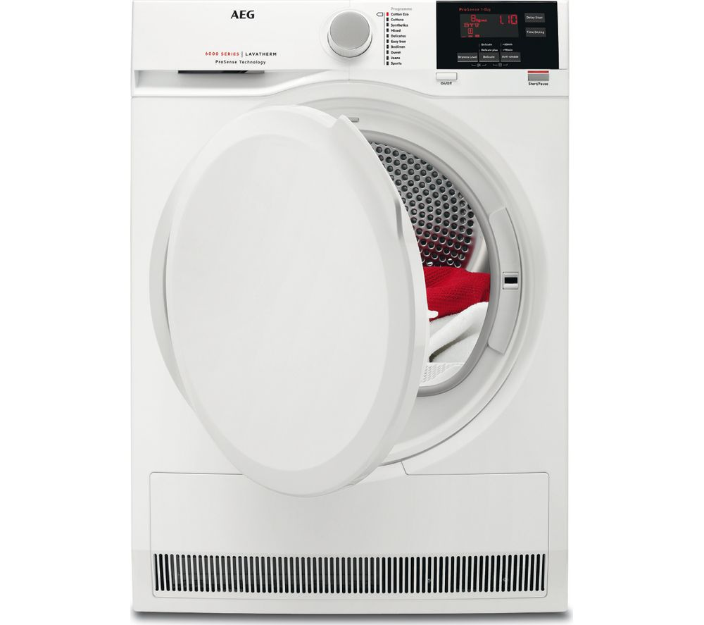 buy aeg prosense t6dbg820n condenser tumble dryer white. Black Bedroom Furniture Sets. Home Design Ideas