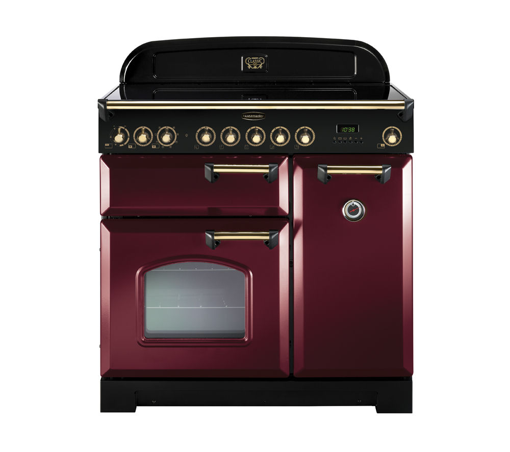 RANGEMASTER  Classic Deluxe 90 Electric Ceramic Range Cooker  Cranberry & Brass Cranberry
